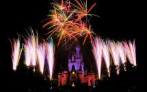 Show de fogos Wishes acima do castelo