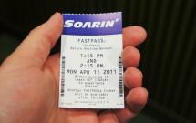 FastPass da atração Sorin do Epcot