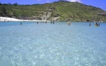 Mar azul e gelado da Praia Grande