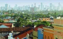 Contrastrte entre o passado colonial e os edifícios modernos