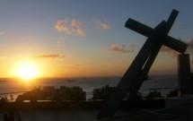 Pôr-do-sol visto da Praça da Cruz Caída