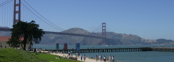 Vista da Golden Gate em Crissy Field