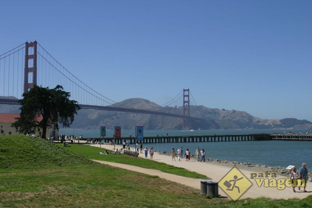 Vista da Golden Gate em Crissy Field