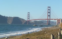 Vista da Golden Gate em Baker Beach
