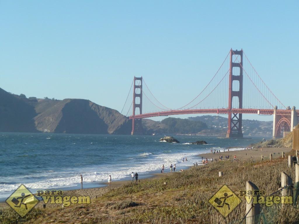 Vista da Golden Gate em Baker Beach