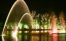 Chafariza iluminado no Parque do Ibirapuera