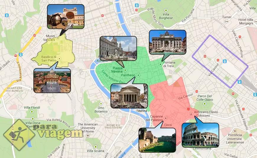 Mapa De Localização De Pontos De Vetor Localização De: Onde Se Hospedar Em Roma: Dicas De Hotéis