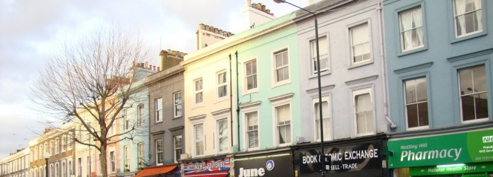 As casas coloridas de Notting Hill