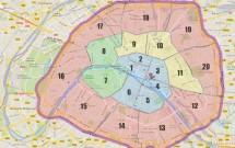 Mapa com os Bairros de Paris, França