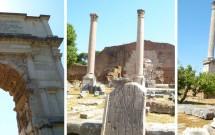 Forum Romano: Arco de Tito, Basílica Emília e Templo de Saturno no detalhe