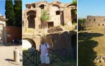 Entrada do Palatino pela Via di San Gregório. Detalhe da Domus Severiana e Estádio de Domiciano
