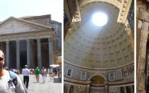 Piazza della Rotonda e o Pantheon. O interior do templo & o óculo no detalhe.