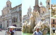 Piazza Navona & a Igreja de Santa Agnese in Agone ao fundo. No detalhe, a lindíssima Fontana dei Quattro Fiumi.