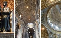 Interior da Basílica de São Pedro. Tradicional foto nos pés de São Pedro. Detalhe da cúpula