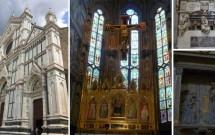 Basílica de Santa Croce e o belo altar. Acima: detalhe do túmulo de Michelangelo. Abaixo: 'A Anunciação', de Donatello.