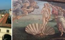 Corredor Vasari. 'Nascimento de Vênus', de Botticelli. 'Sagrada Família' de Michelangelo. Detalhe da 'Anunciação' de da Vinci.