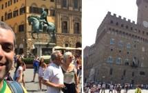 Piazza della Signoria: estátua equestre de Cosimo I e o Palazzo Vechio