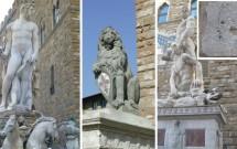 'Fontana de Netuno', 'Marzocco' e 'Hércules e Caco'. 'L'Importuno' no detalhe