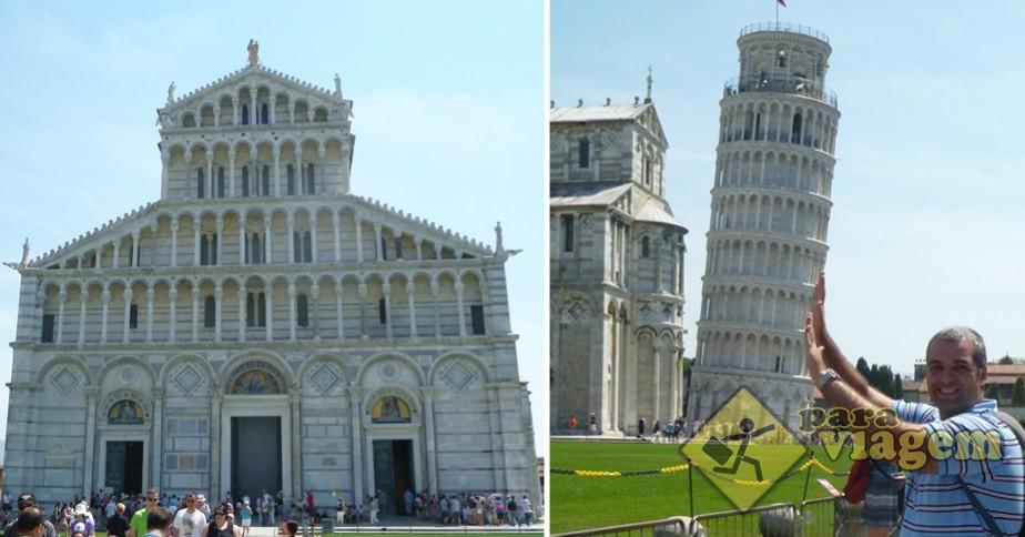 Duomo de Pisa e a tradicional foto em perspectiva da Torre Pendente
