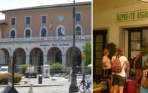 Estação Pisa Centrale. Deposito Bagagli no detalhe.