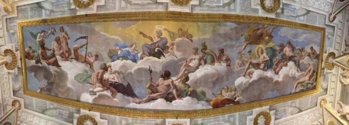 Júpiter e o Conselho dos Deuses: afresco de Giovanni Lanfranco no primeiro salão da Galeria Borghese