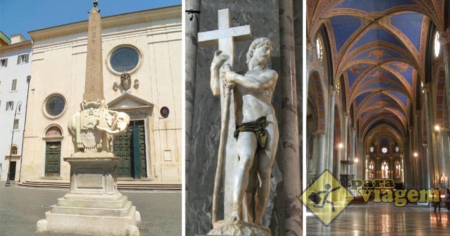 Basílica de Santa Maria sopra Minerva & a escultura de Jesus Cristo nu de Michelangelo