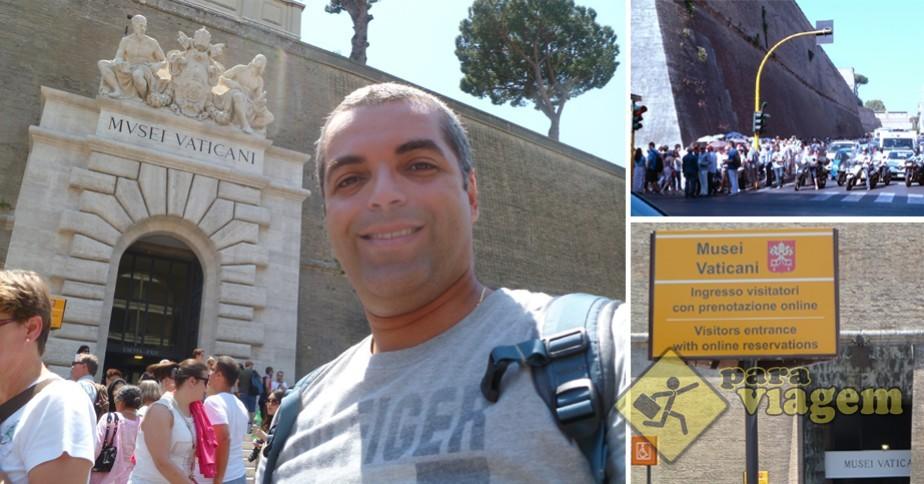 Museus do Vaticano. Procure pela placa amarela indicando a fila dos que tem ingresso comprado antecipadamente