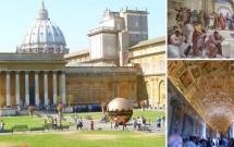 Museus do Vaticano. No detalhe, a Galeria dos Mapas e um afresco das Salas de Rafael