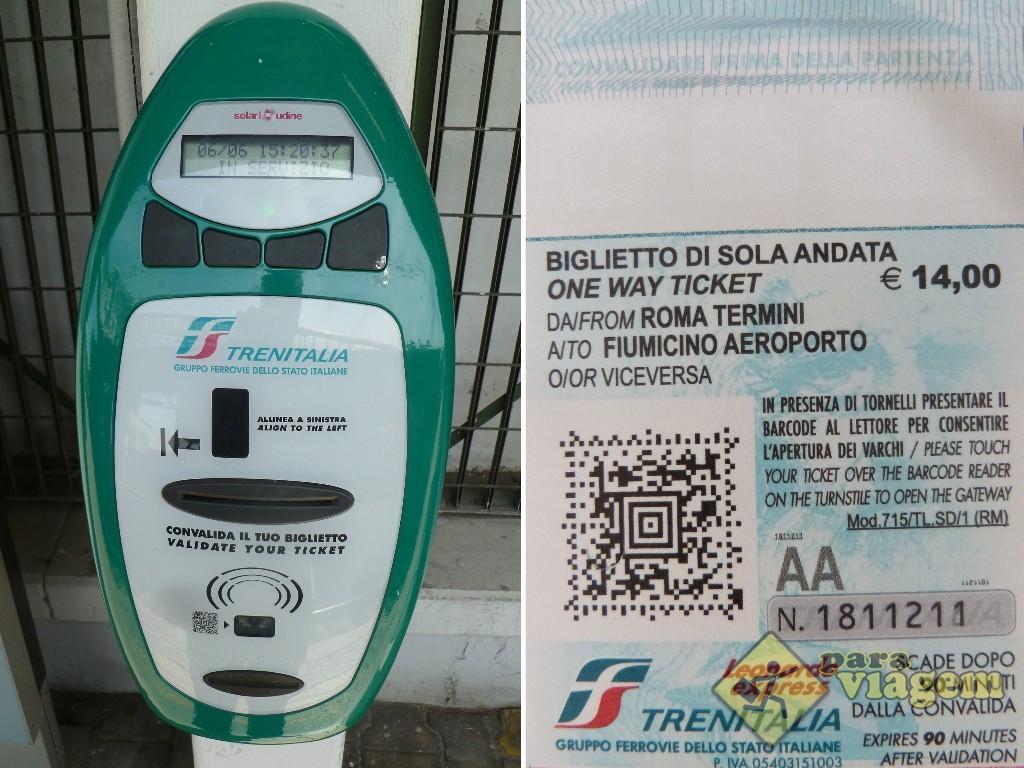 Máquina de validação do bilhete da Trenitália
