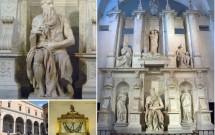 Moisés de Michelangelo (Igreja de S. Pietro in Vincoli). No detalhe, as correntes de São Pedro.