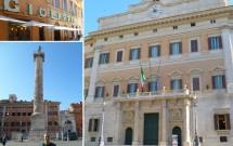 Piazza Colonna & Palácio Montecitório. Gelateria Giolitti no detalhei