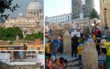 Piazza di Spagna & a Igreja Trinità dei Monti. Vista da Basílica de São Pedro do mirante. Fontana della Barcaccia (em manutenção) no detalhe