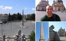 Piazza del Popolo e as igrejas gêmeas. No detalhe o Obelisco Flaminio e uma das minifontes