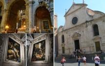 Igreja de S. Maria del Popolo e seu interior. Obras de Caravaggio no detalhe.