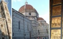 Basília de S. Maria del Fiore e o Campanário de Giotto. Lateral do Duomo. Portade bronze do Batistério no detalhe