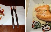 Torta de nozes pecan --- salmão grelhado com molho de maracujá