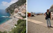 A praia de Positano (vista do alto e de perto)