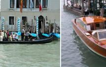 O traghetto e o táxi aquático em Veneza