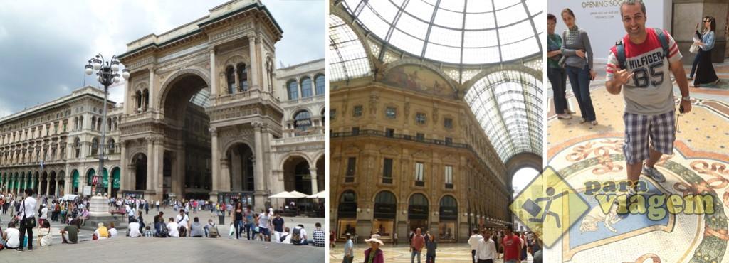 Galleria Vottorio Emanuelle II. O touro de mosaico no detalhe