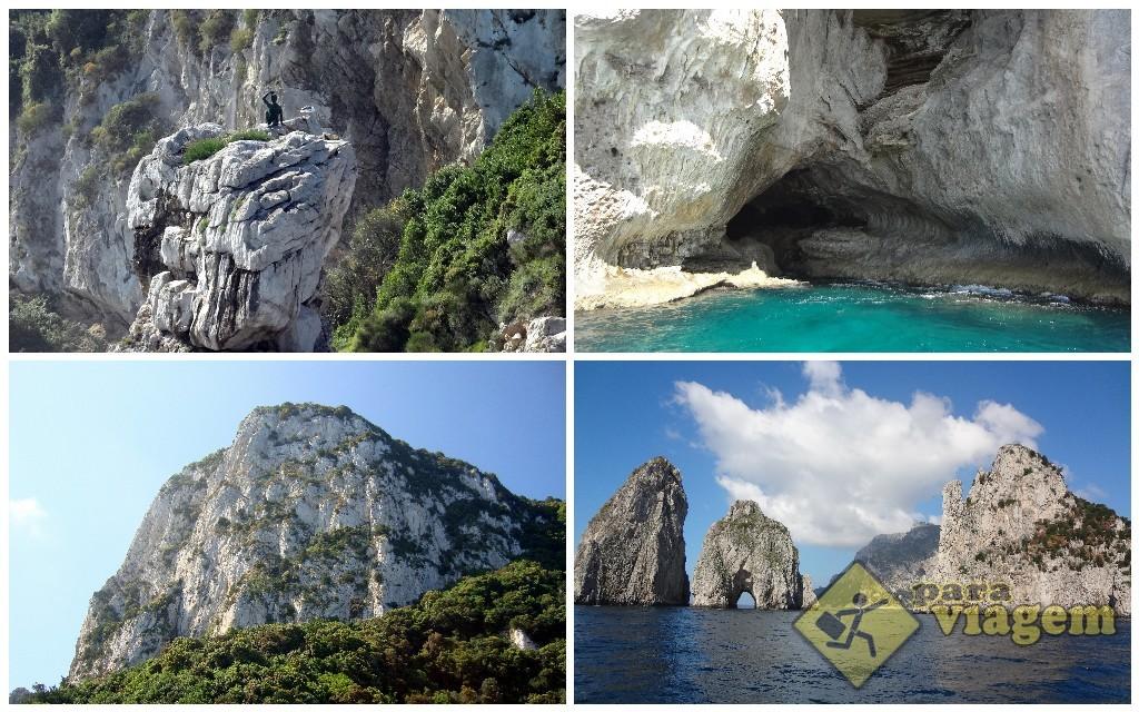 Da esq. pra dir. e em sentido horário: Scugnizzo, Grotta Bianca, Faraglioni e o Salto de Tibério