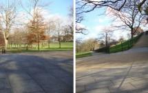 A subida vindo do parque --- O começo da rampa para o Observatório