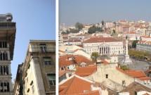 Elevador Santa Justa e a Praça Pedro IV vista do mirante