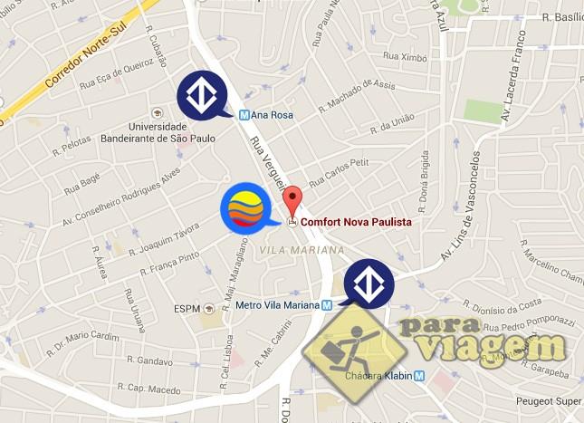 Localização do Comfort Nova Paulista