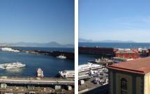 Vista do terraço do Castel Nuovo: o porto e o Vesúvio (à esq.) e a Península de Sorrento e Capri (à dir.)
