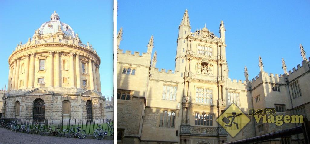 Radcliffe Camera (esq) e Bodleian Library (dir)