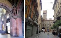 Um dos pilares do Voltone del Podestà (esq) e a Torre dell'Arengo (dir)