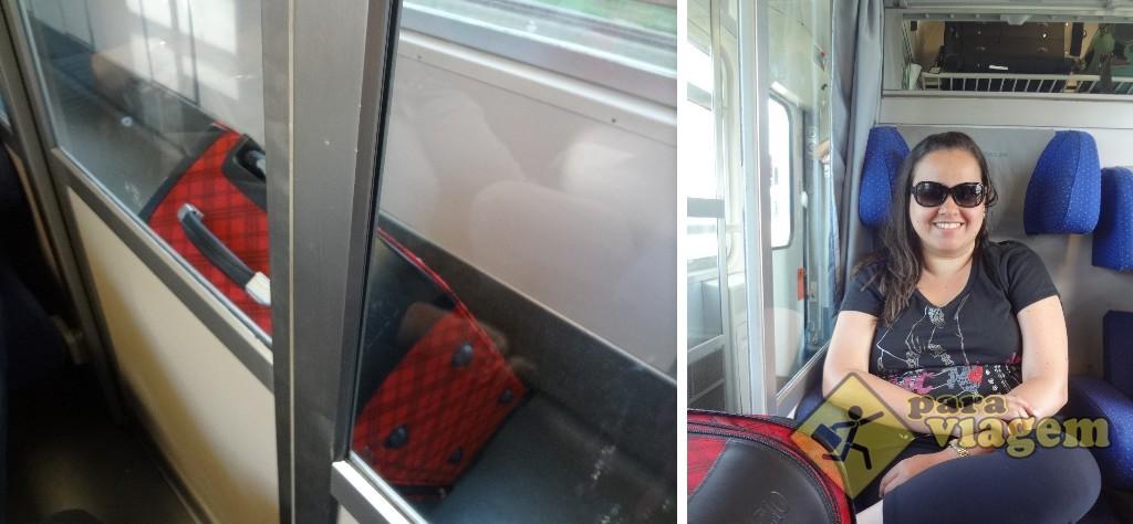 A mala no corredor e a cabine do trem
