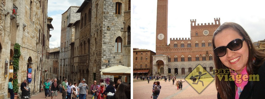 San Gimignano (esq) e Siena (dir)