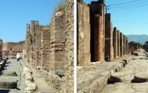 Ruas de Pompeia: as marcas das rodas das bigas (esq) e as pedras no meio da rua (dir)