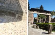 Um dos mosaicos e a parte dos fundos da Casa de Fauno